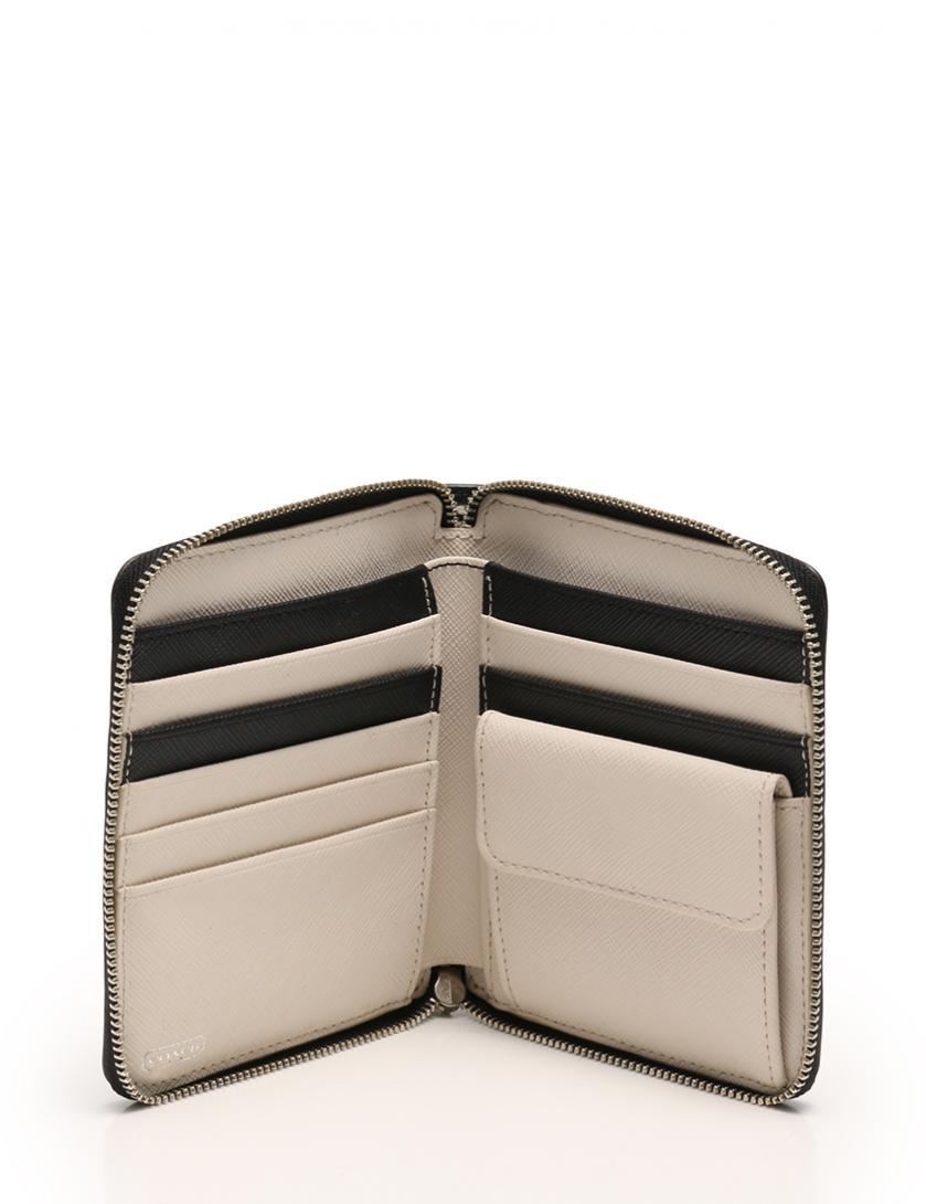 eda66132b666 COACH(コーチ)ラウンドファスナー二つ折り財布 チェック PVC 黒 白 中古ブランド通販のRECLO
