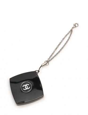 b26dda64e551 CHANEL(シャネル)ノベルティ コンパクトミラー付きストラップ 黒|中古ブランド通販のRECLO