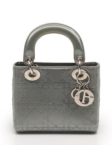 online retailer a3683 e1999 Christian Dior(クリスチャンディオール)レディディオール ハンドバッグ ミニバッグ ラインストーン サテン グレー  シルバー金具|中古ブランド通販のRECLO