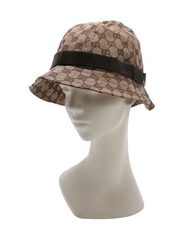 wholesale dealer 66035 1173d GUCCI(グッチ)ハット 帽子 GGキャンバス レザー ベージュ 茶|中古ブランド通販のRECLO