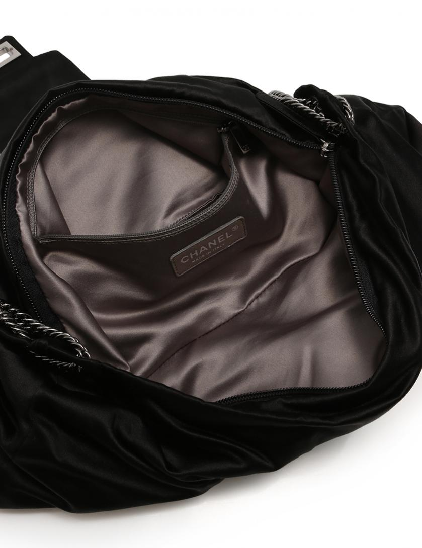 d8470daf1027 CHANEL(シャネル)2.55 マトラッセ チェーンショルダーバッグ リボン サテン 黒|中古ブランド通販のRECLO