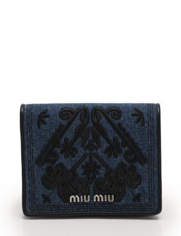 finest selection 7b596 48b6b miu miu(ミュウミュウ)コンパクト 二つ折り財布 刺繍 デニム ネイビー 黒|中古ブランド通販のRECLO