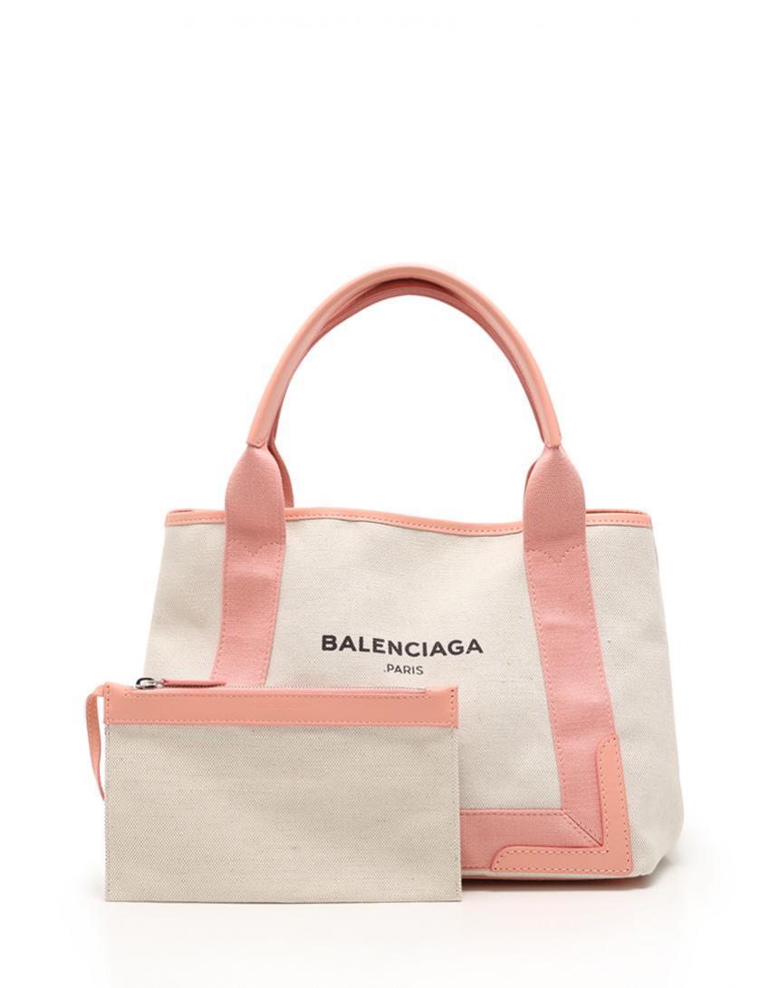 BALENCIAGA (バレンシアガ) ネイビーカバ S トートバッグ キャンバス レザー アイボリー ピンク
