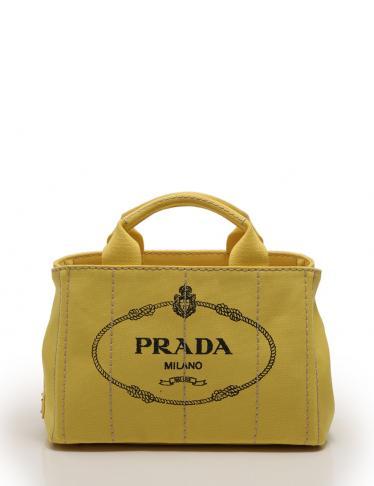 2152954f2554 PRADA(プラダ)カナパ トートバッグ 2WAY キャンバス 黄|中古ブランド通販のRECLO