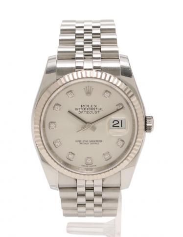 quality design b574d 7efb1 ROLEX(ロレックス)デイトジャスト 自動巻き 腕時計 メンズ 10Pダイヤ SS K18WG シルバー  ホワイトゴールド|中古ブランド通販のRECLO