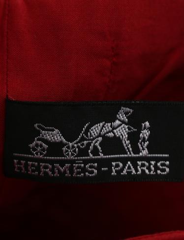 HERMES・バッグ・アメダバ カバ ドゥポッシュ トートバッグ キャンバス レザー 赤 茶