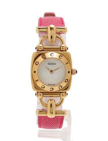 outlet store 8abeb 1fc1b GUCCI(グッチ)6300L クオーツ 腕時計 SS 型押しレザーベルト レディース ゴールド ピンク|中古ブランド通販のRECLO