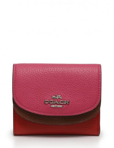 pretty nice 5955d 83b51 COACH(コーチ)三つ折り財布 ダブルフラップ レザー 赤 ピンク 茶|中古ブランド通販のRECLO