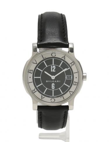 00a626373ad0 BVLGARI(ブルガリ)ソロテンポ クオーツ 腕時計 メンズ SS レザー シルバー 黒 中古ブランド通販のRECLO