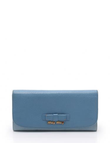 cheaper a50c8 b5e39 miu miu(ミュウミュウ)マドラス ビコローレ 二つ折り 長財布 レザー 水色|中古ブランド通販のRECLO