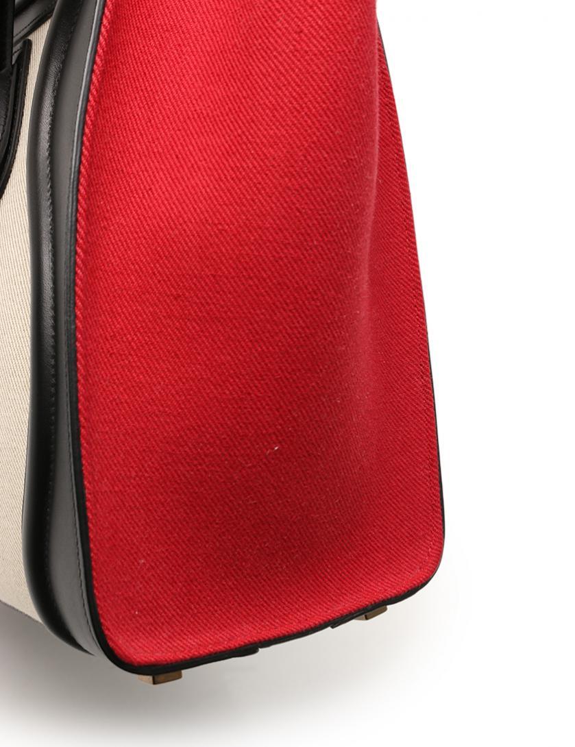 9f00542f8072 CELINE(セリーヌ)ラゲージ マイクロショッパー ハンドバッグ キャンバス レザー ベージュ 黒 赤 2016SS 中古ブランド通販のRECLO