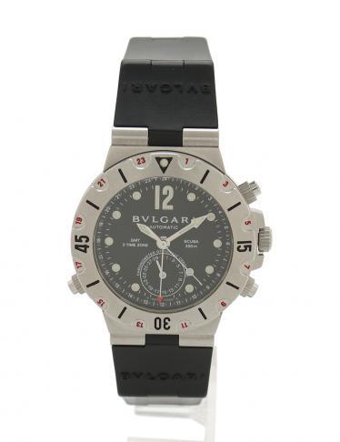 c0c207de04ba BVLGARI(ブルガリ)ディアゴノ スクーバ GMT 自動巻き 腕時計 メンズ シルバー 黒|中古ブランド通販のRECLO