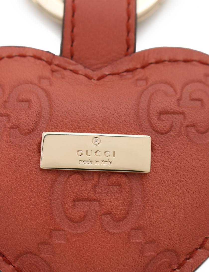 780dc3e967cd GUCCI(グッチ)チャーム キーホルダー キーリング ハート グッチシマレザー ピンク|中古ブランド通販のRECLO