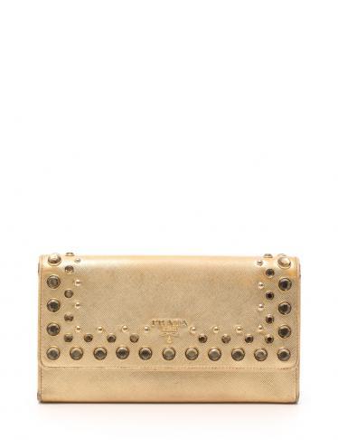 fa9a801a32dc PRADA(プラダ)SAFFIANO VERNIC コンパクトクラッチ 二つ折り長財布 サフィアーノレザー ゴールド  ビジュー|中古ブランド通販のRECLO