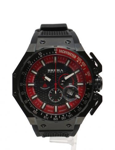 superior quality 5885c 7940c BRERA OROLOGI(ブレラオロロジ)グランツーリスモ クロノグラフ 腕時計 メンズ クオーツ SS ラバー 黒 赤|中古ブランド通販のRECLO