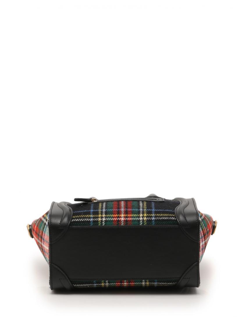 bd2447365d15 CELINE(セリーヌ)ラゲージ ナノショッパー ハンドバッグ チェック ウール レザー 緑 赤 黒 2017FW|中古ブランド通販のRECLO