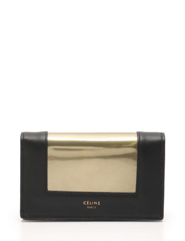 a188f03f570c CELINE(セリーヌ)フレーム コイン & カードパース カードケース レザー 黒 ゴールド 18SS|中古ブランド通販のRECLO
