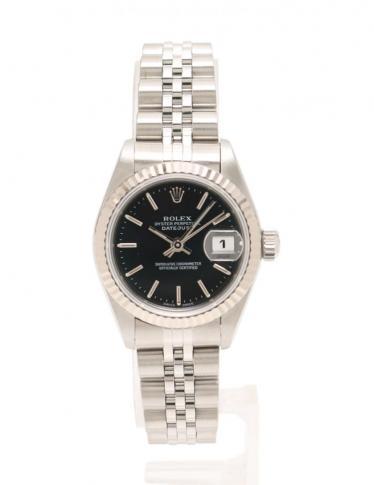 official photos 665e3 6761f ROLEX(ロレックス)デイトジャスト 腕時計 レディース 自動巻き SS K18WG シルバー ホワイトゴールド  黒文字盤|中古ブランド通販のRECLO