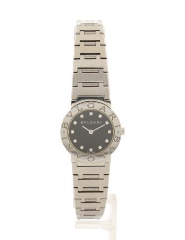 brand new c27ff 66f51 BVLGARI(ブルガリ)ブルガリブルガリ 腕時計 レディース 12Pダイヤ クオーツ SS 黒 黒文字盤|中古ブランド通販のRECLO