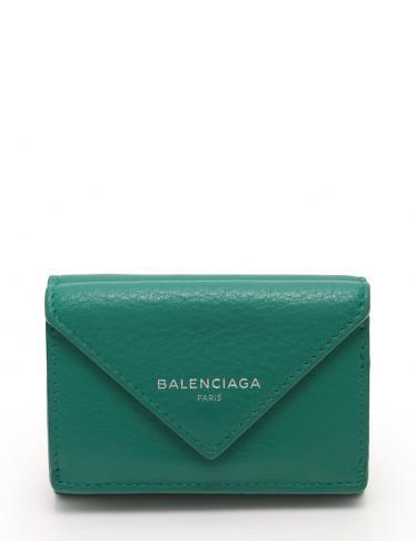 new york 4140b 6b5be BALENCIAGA(バレンシアガ)ペーパー ミニ ウォレット 三つ折り財布 レザー 緑|中古ブランド通販のRECLO