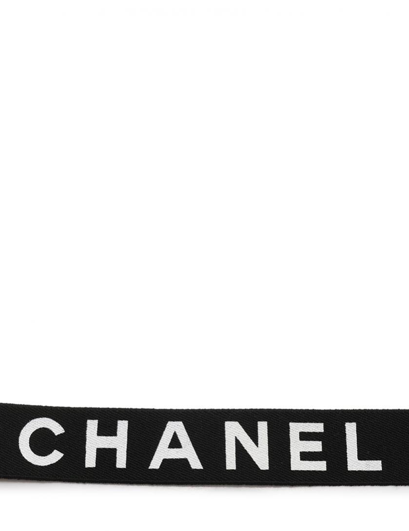 e4f00aa1568c CHANEL(シャネル)ロゴマーク サスペンダー ゴム レザー 黒 ゴールド ヴィンテージ|中古ブランド通販のRECLO