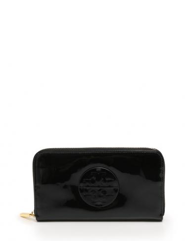 767ac2d4f13a TORY BURCH(トリーバーチ)STACKED PATENT ZIP CONTINENTAL WALLET ラウンドファスナー長財布 エナメルレザー  黒|中古ブランド通販のRECLO