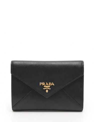 79e8854d4029 PRADA(プラダ) 三つ折り財布 サフィアーノレザー 黒|中古ブランド通販のRECLO