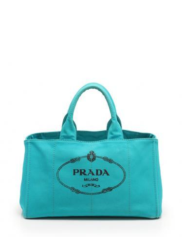 dd40fa95f804 PRADA(プラダ)CANAPA カナパ トートバッグ キャンバス ターコイズブルー|中古ブランド通販のRECLO