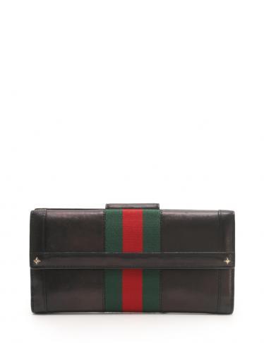 new product bca28 b7467 GUCCI(グッチ)シェリーライン Wホック長財布 レザー 黒 赤 緑|中古ブランド通販のRECLO