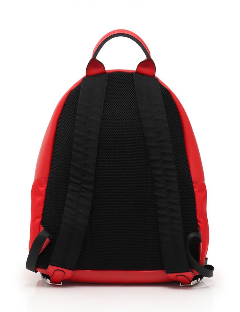 FENDI・バッグ・フェイス リュック バックパック ナイロン レザー 赤 黒