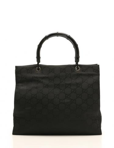best service 0be18 d8ea2 GUCCI(グッチ)GG柄 バンブー トートバッグ ナイロンキャンバス 黒|中古ブランド通販のRECLO