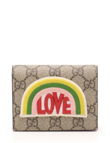 56f7e246a18e GUCCI(グッチ)GGスプリーム 二つ折り財布 PVC ベージュ 緑 黄 LOVEワッペン|中古ブランド通販のRECLO