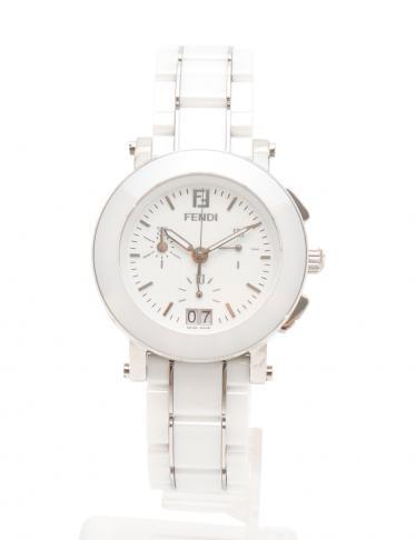 db29f1427a FENDI(フェンディ)レディース 腕時計 クオーツ SS セラミック 白 シルバー クロノグラフ ビッグデイト 白文字盤|中古ブランド通販のRECLO