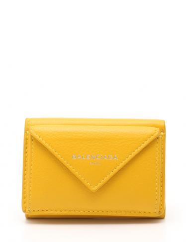 online store 07e19 fd829 BALENCIAGA(バレンシアガ)ペーパーミニウォレット 三つ折り財布 レザー 黄|中古ブランド通販のRECLO