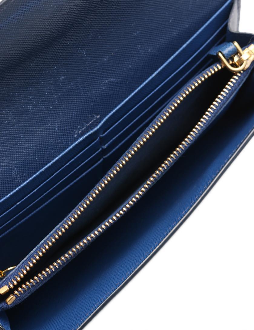 5d49f2870690 PRADA(プラダ) 二つ折り長財布 サフィアーノレザー ネイビー ウェーブ パスケース付き|中古ブランド通販のRECLO