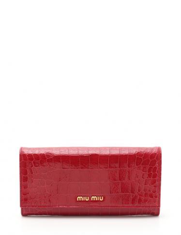 quality design e9485 725f9 miu miu(ミュウミュウ)ST.COCCO LUX 二つ折り長財布 レザー 赤 クロコ型押し|中古ブランド通販のRECLO