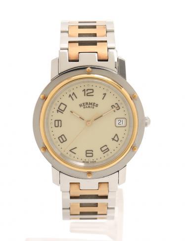 new concept 85735 3e2b0 HERMES(エルメス)クリッパー コンビ 腕時計 メンズ 腕時計 SS GP シルバー ゴールド アイボリー文字盤|中古ブランド通販のRECLO