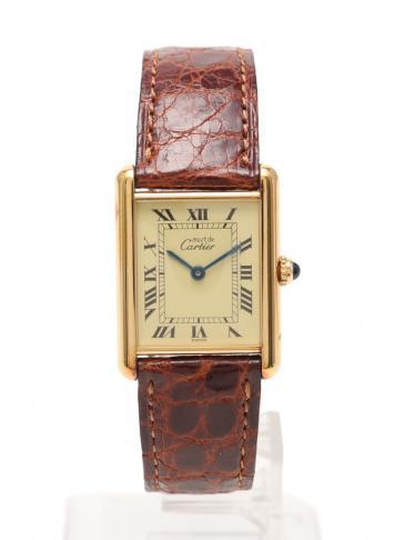 online store 69a2c bd394 Cartier(カルティエ)マストタンク タンク ルイ カルティエ 腕時計 レディース クオーツ SV925 レザー ゴールド  アンティーク|中古ブランド通販のRECLO