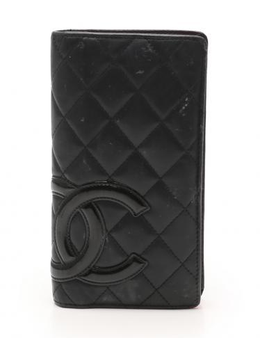 06b0fa29ba5a CHANEL(シャネル)カンボンライン 二つ折り長財布 ラムスキン 黒|中古ブランド通販のRECLO
