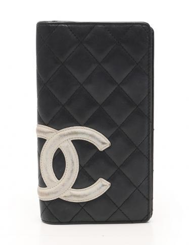093e5dbde7ce CHANEL(シャネル)カンボンライン 二つ折り長財布 レザー 黒 白|中古ブランド通販のRECLO