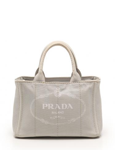 0fc67d6775b1 PRADA(プラダ)CANAPA カナパ トートバッグ キャンバス ライトグレー 2WAY|中古ブランド通販のRECLO