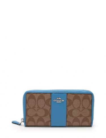 f69d4145a72709 COACH(コーチ)シグネチャー アコーディオンジップ ラウンドファスナー長財布 PVC レザー 茶 水色 中古ブランド通販のRECLO