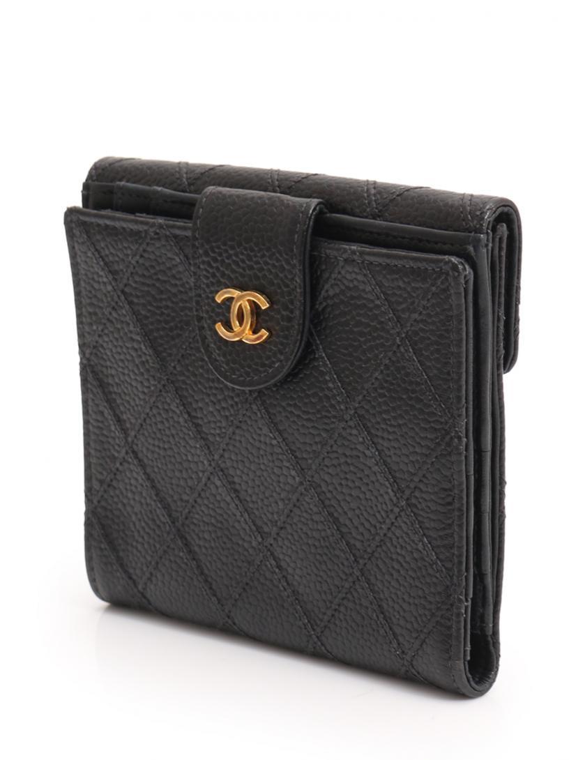 57f0b09db086 CHANEL(シャネル)マトラッセ Wホック 二つ折り財布 レザー 黒 中古ブランド通販のRECLO