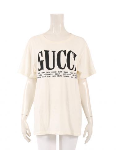 eee9bb40efa4 GUCCI(グッチ)Cities Logo Print ロゴプリントTシャツ カットソー アイボリー 黒|中古ブランド通販のRECLO