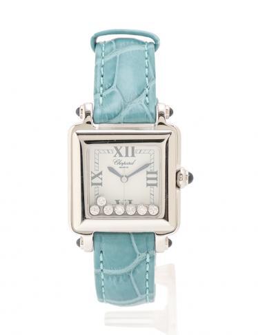 pretty nice 33304 3b986 Chopard(ショパール)ハッピースポーツスクエア レディース 腕時計 クオーツ SS レザー ダイヤモンド シルバー エメラルドグリーン  7Pダイヤ 中古ブランド通販のRECLO