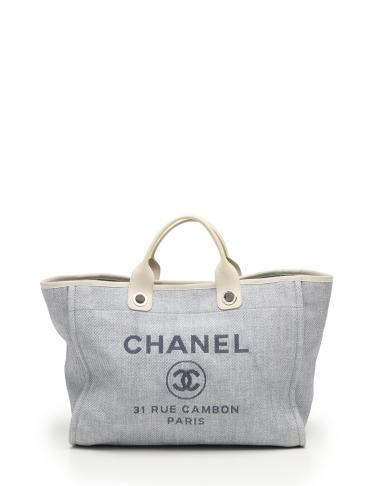 on sale 9504a 7eb38 CHANEL(シャネル)ドーヴィル ショッピングバッグ トートバッグ コットン ナイロン カーフスキン 白 水色 2WAY 中古ブランド通販のRECLO