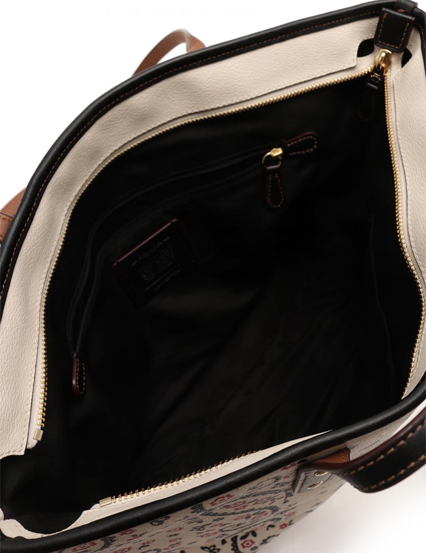 a457b7c3e369 COACH(コーチ)バタフライ バンダナ プリント トートバッグ PVC レザー アイボリー 黒 ピンク|中古ブランド通販のRECLO