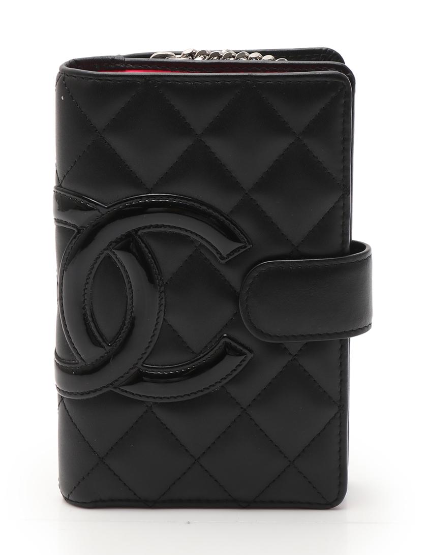 269ebe0a5ecd CHANEL(シャネル)カンボンライン 二つ折り財布 レザー エナメルレザー 黒|中古ブランド通販のRECLO