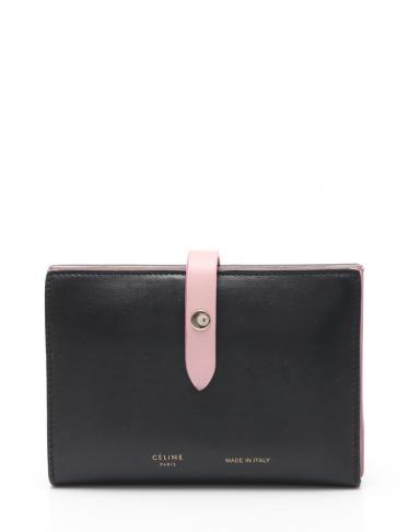 dcefbc25663f CELINE(セリーヌ)ストラップミディアム マルチファンクション 二つ折り財布 レザー 黒 ピンク|中古ブランド通販のRECLO
