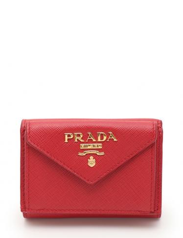 8977dea72f37 PRADA(プラダ)SAFFIANO METAL 三つ折り財布 サフィアーノレザー 赤|中古ブランド通販のRECLO